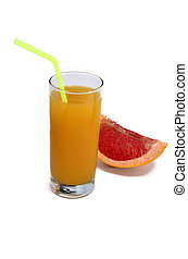 glass of orange juice with a straw and grapefruit isolated on white