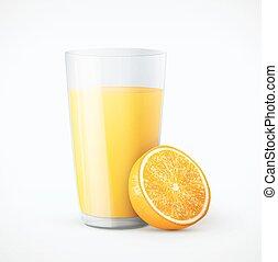 Glass of orange juice with fruit