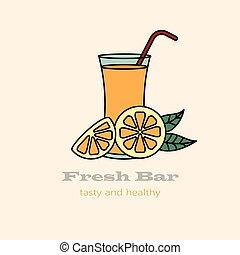Glass of orange juice with straw.
