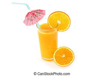 Glass of orange juice with umbrella on white background