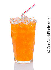 Glass of Orange Soda With Drinking Straw - Closeup of a...