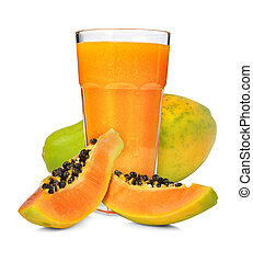 papaya smoothie - Glass of papaya smoothie isolated on white