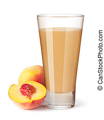 glass of peach juice on a white background