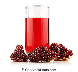 Glass of  pomegranate juice with sliced fruits isolated
