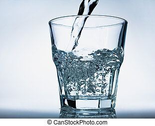 Glass of pouring water