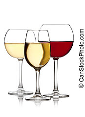 Glass of red and white wine on a white background and with...