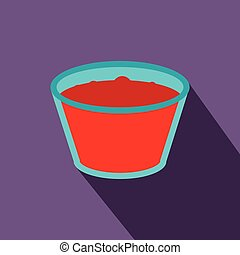 Glass of red apple juice flat icon