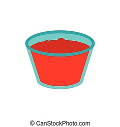 Glass of red apple juice icon