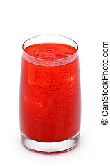glass of red orange juice with ice on white background
