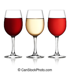 Glass of red, pink and white wine on a white background and with soft shadow. The file includes a clipping path.