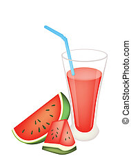 Glass of Red Watermelon Juice and Watermelon Fruit - A Glass...