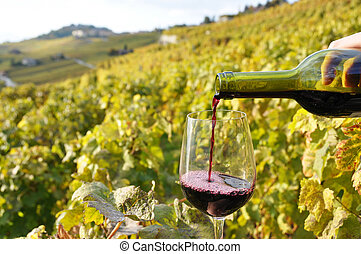 Glass of red wine against vineyards in Lavaux region,...