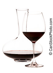 Glass Of Red Wine And Decanter, white background