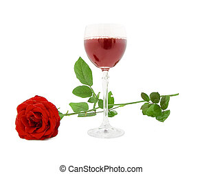 Glass of red wine and red rose on a white background