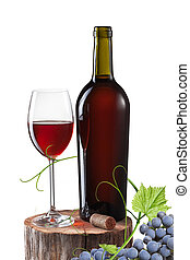 Glass of red wine, bottle and grape on stump isolated on...