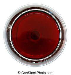 red wine - glass of red wine from top
