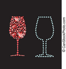 Glass Of Red Wine - Glass of red wine made of gems