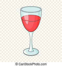 Glass of red wine icon, cartoon style