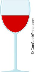 Glass of red wine icon. Cartoon vector illustration.