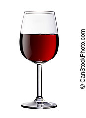 Glass of red wine isolated clipping path included - A glass...