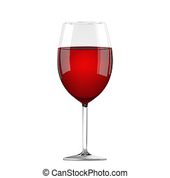 Glass of red wine on the white background