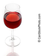 glass of red wine on white background Isolated