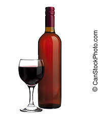 glass of red wine - Close up image of a glass and bottle of...