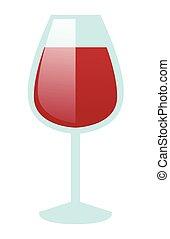 Glass of red wine vector cartoon illustration.