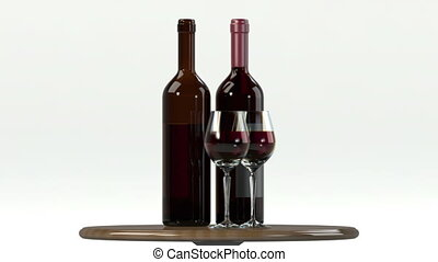 Glass of red wine with bottle. Alpha transparency for easily...