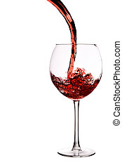 Glass of red wine with wave - Glass of red wine isolated...