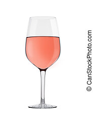 Glass of rose pink wine isolated on white