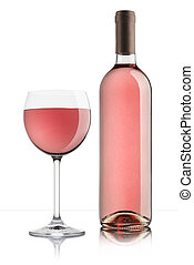 rose wine - glass of rose wine with full bottle on white...