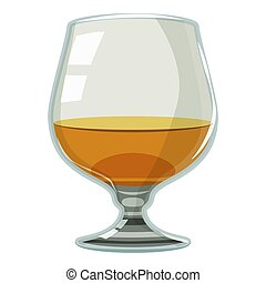 Glass of scotch or whiskey icon, cartoon style - Glass of...