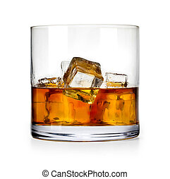 scotch whiskey - Glass of scotch whiskey and ice on a white ...