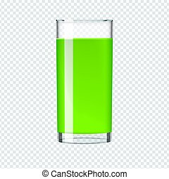 Glass of Smoothie with kiwi or spinach and cucumber juice. Beverage, realistic vector.