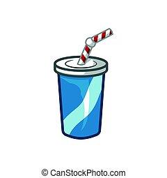 Glass of soda, fizzy water, vector illustration, cartoon