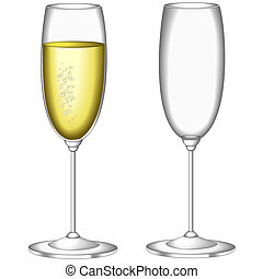 Glass of sparkling wine - Glasses of sparkling wine, one...