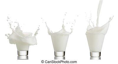 glass of splashing milk isolated on white background