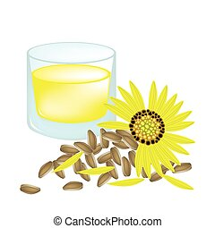 Glass of Sunflower Oil and Yellow Sunflower with Seed