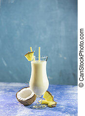 Glass of tasty Frozen Pina Colada Traditional Caribbean ...