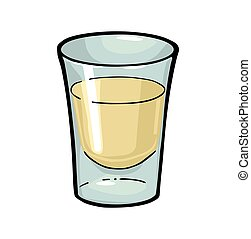 Glass of tequila. Color vector illustration isolated on white