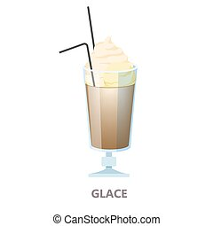 Glass of the glace coffee. Brown drink