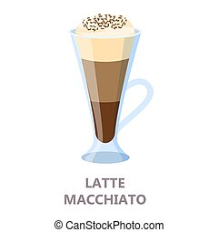 Glass of the latte coffee. Brown drink
