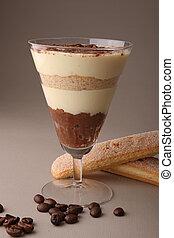tiramisu - glass of tiramisu and biscuit