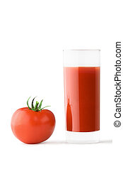 Glass of tomato juice and tomato - High glass glass with ...