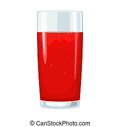 Glass of tomato juice. Vector flat color illustration. Isolated on white
