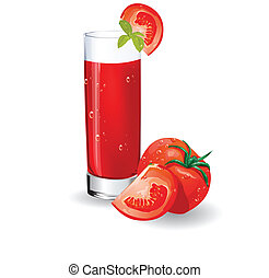 Glass of tomato juice. Vector illustration.