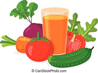 Glass of vegetable juice. - Healthy natural drink isolated...