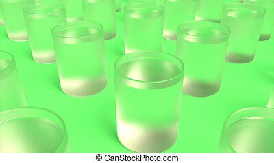 Glass of vodka on green able to loop seamless