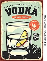 Glass of vodka with lemon slice retro poster decoration for ...